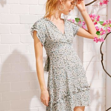 Ditsy Floral Knot Back Dress