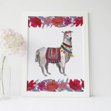 Whimsical Watercolor Boho Llama Art Print