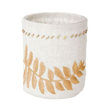 Linen Gold Stitched Fern Votive-Sm