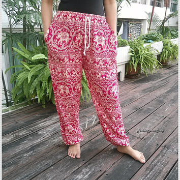 Pink Elephant Pants Baggy Boho Comfy Exotic Style Print Rope Waist Hippie Gypsy Plus Size Rayon Aladdin Clothing Beach Clothing Hipster
