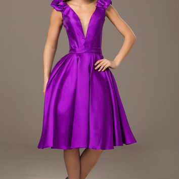 Purple Sleeveless Short Dress 98240