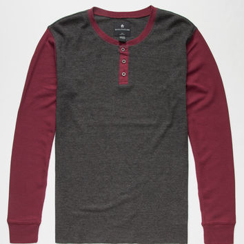 SHOUTHOUSE Colorblock Mens Thermal Henley | Thermals