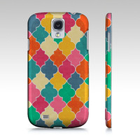 Samsung Galaxy s4 case, Galaxy S3 case, Boho Clover s3 case, Quatrefoil pattern, colorful geometric, Moroccan tile design art for your phone