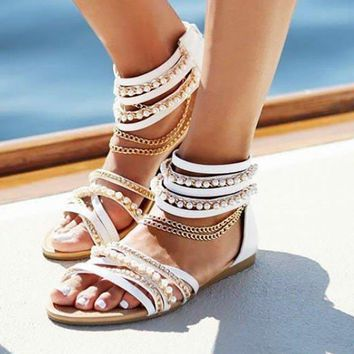 B| Chicloth Chain Open Toe Imitation Pearl Daily Summer Sandals