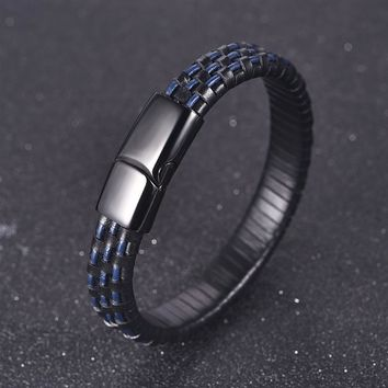 Jiayiqi Genuine Leather Bracelets Braid Woven Rope Chain Stainless Steel Magnetic Buckle Bangle for Men Jewelry Vintage Punk