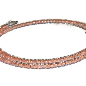 Light Pink Lined Glass Beaded Artisan Crafted Stackables Wrap Bracelet (XS-M)