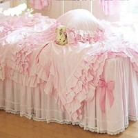 DIAIDI,Luxury Lace Ruffle Bedding Sets, Romantic Pink Princess Duvet Cover Set,Wedding Bed Cover Set,Queen Size,4Pcs (QUEEN)