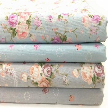 Graceful 50x160cm Blue Grey Bing Small Blooming Flower Printed Cotton Fabric Floral Fabric For DIY Sewing Bedding Clothing Quilt
