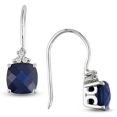 Cushion-Cut Lab-Created Sapphire Drop Earrings in 10K White Gold - View All - Zales