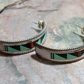Signed RT Zuni Vintage Earrings Native American Southwest Southwestern Jewelry Western Americana Jewelry Multi Stone Inlaid Turquoise + More