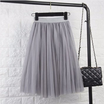 6447af3465 ♡ Tulle Elastic High Waist Pleated Midi from Crystalline | Epic