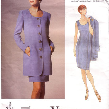Vintage Vogue 1404, American Designer, Oscar De La Renta, Dress and Jacket, Size 14, 16, 18