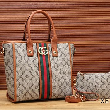 Gucci Women Leather Satchel Handbag Shoulder Bag Set Two Piece