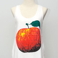 Red Apple Fruit White Tank Top Unisex  Singlet T-Shirt Size  M