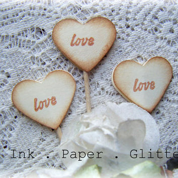 Heart Cupcake Topper - Love - Vintage Inspired - Wedding - Bridal Shower - Decoration - Food Pick - Set of 15