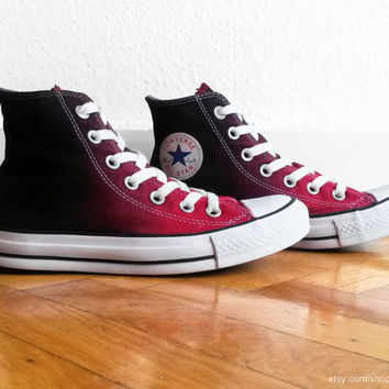 Red ombre Converse, dip dye upcycled vintage sneakers, All Stars, high tops, eu 36.5 (UK 4, US wmns 6, US mens 4)