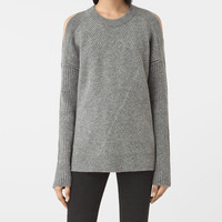 ALLSAINTS UK: Womens Terra Open Shoulder Jumper (Grey Marl)