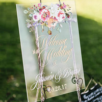 Wedding Sign Clear Acrylic Welcome Sign Personalized Names Floral Design, Modern Wedding Style Artwork Sign Large in Size (Item - LFL140)