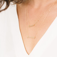 Classic Double Bar Necklace
