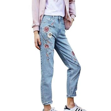 LMFHQ9 Women's Fashion Denim Flower Embroidery High Waist Jeans Woman Femme Skinny Pants Slim Women Jeans Floral Embroidered Jeans