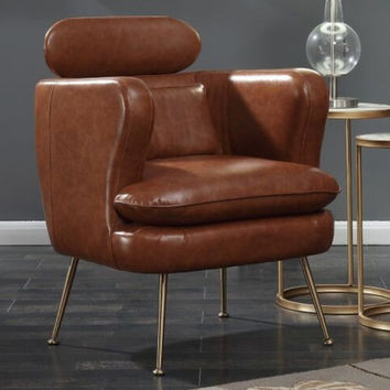 Home Elegance HE-1282BR Orbit retro modern brown faux leather chrome legs accent chair
