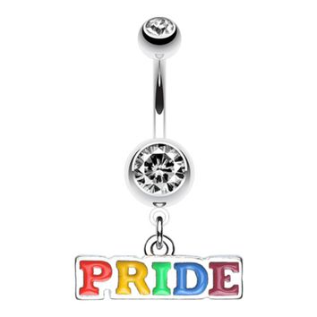 Rainbow Pride Dangle Belly Button Ring