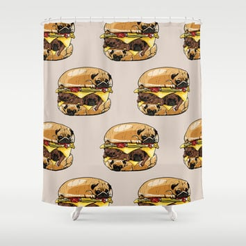 Pugs Burger Shower Curtain by Huebucket
