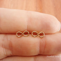 Mini Infinity Earrings, 14K Yellow Gold Filled, 20 Gauge