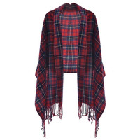 Classic Women Tartan Plaid  Fringed Scarf (Size: One Size, Color: Red & Blue) = 1957861380