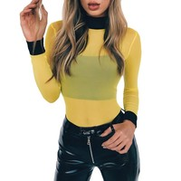 2017 Turtleneck Mesh Bodysuit Female Red Long Sleeve Sexy Bodysuit Rompers Womens Jumpsuit Slim Overalls Combinaison Femme
