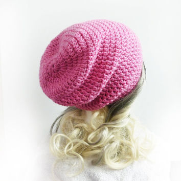 Pink Beanie Slouchy Beanie Hat Crochet Slouch Hat Baggy hat Girls Womens Teen spring accessories