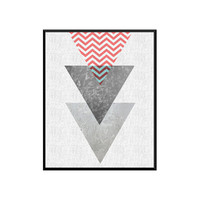 Triangle Print,Chevron Printable Art, Geometric Art print, Scandinavian Design, Geometric Art, Minimalist Art, Abstract Wall Art, Art Poster
