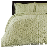 Full size 100 Percent Cotton Chenille Bedspread in Green Honeydew with Repeating Floral Pattern
