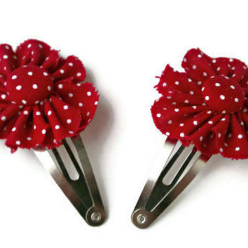 Polka Dot Snap Clip,  Fabric Flower, Red and White, Clippies, Hair Clip, Barrette
