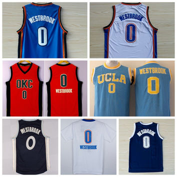 Newest 0 Russell Westbrook Jersey Shirt UCLA Bruins Russell Westbrook College Uniforms Throwback Christmas Home Road Blue White Orange