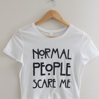 Normal People Scare Me Graphic Crop Top