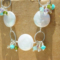 Blossom Coin Pearl and Crystal Cluster Bracelet by StarBurstJewels