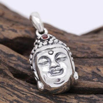 Handcrafted 925 Silver Buddha Pendant vintage sterling silver Tibetan Buddha Head Pendant Good Luck