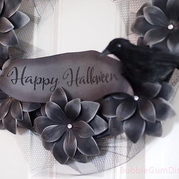 "Creepy Chic Happy Halloween Wreath Paper Flower Black Flowers Halloween Decor 12"" with Crow Raven"