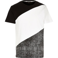River Island MensBlack white block color t-shirt