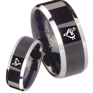 His Hers Shiny Black Bevel Music & Heart 2 Tone Tungsten Wedding Rings Set