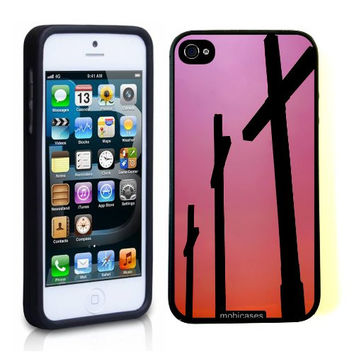 Three Crosses Christian Jesus Pink iPhone 5 Case - For iPhone 5/5G Designer TPU Case Verizon AT&T Sprint