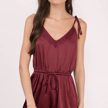 Zola Satin Lace Trim Romper