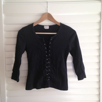 VINTAGE 1990s 90s LACE UP black top small