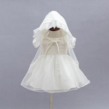 Newborn Christening Gown Party Wedding Dress with Bonnet and Cape Baptism Dresses