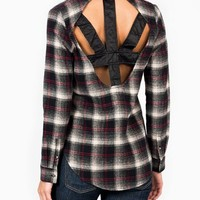 leather-inset-flannel-top BLACKRED - GoJane.com