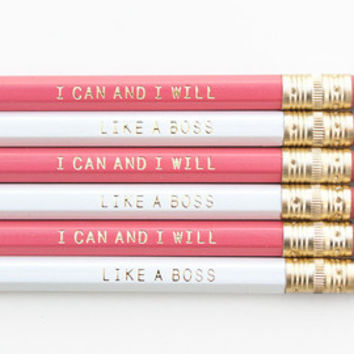 I CAN AND I WILL  - Pink and Gold printed pencil set - Cute pencil set - Stocking stuffer - Gift for her - Engraved pencils - Gold Foil