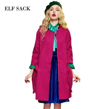 Elf SACK winter p double patch pocket double faced wool coat loose woolen outerwear female long design