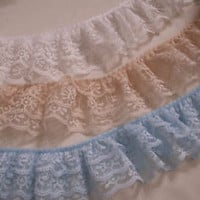 Gathered Triple Ruffled Lace Trim, Assorted Colors, Lace by the Yard,3 Tier Lace