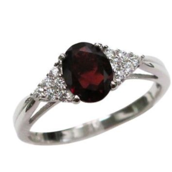 Beautiful Sterling Silver Garnet Engagement Ring